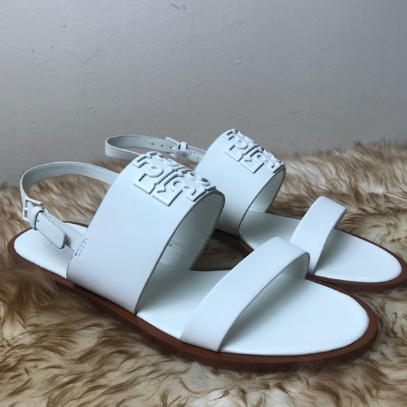 726ff8cf8c9be Tory Burch Melinda Powder Coated Sandal White Logo